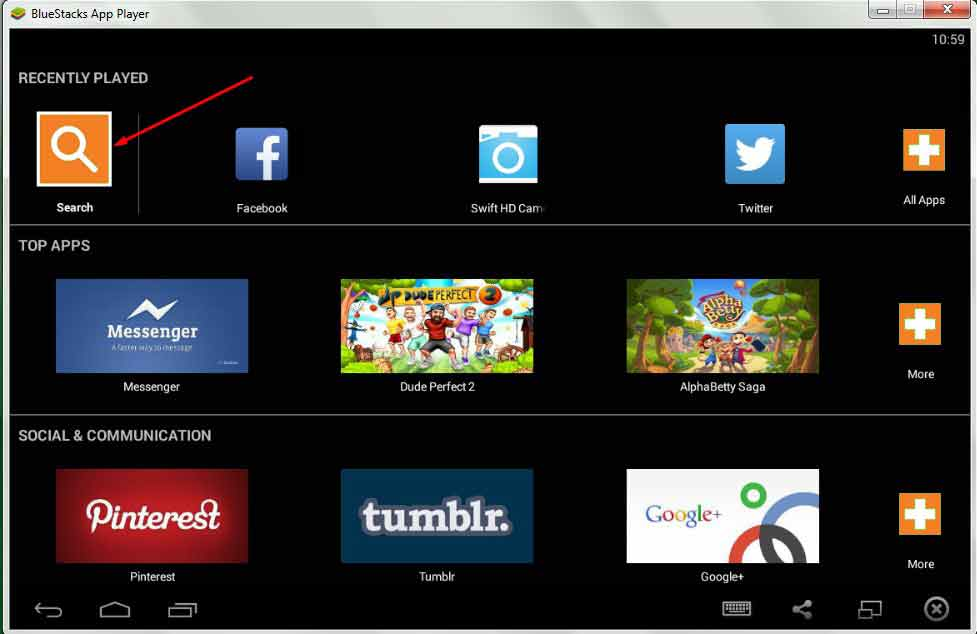 Bluestacks for windows 10/8/8.1/7 Search
